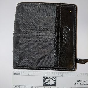 Small Black leather and fabric Coach Wallet
